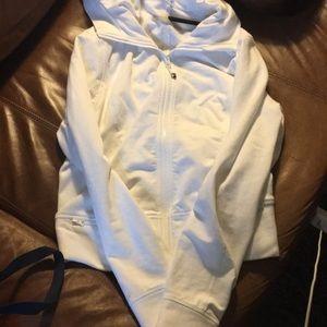 Hooded lululemon white zip up